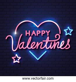 happy valentines day with heart and stars of neon lights