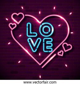 lettering of love with hearts of neon lights