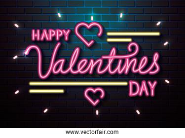 happy valentines day with hearts of neon lights