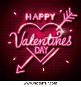 happy valentines day with heart of neon lights