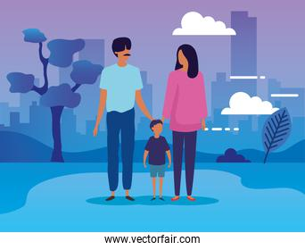 parents with son in the park scene