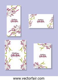 leaves cards set of wedding collection vector design