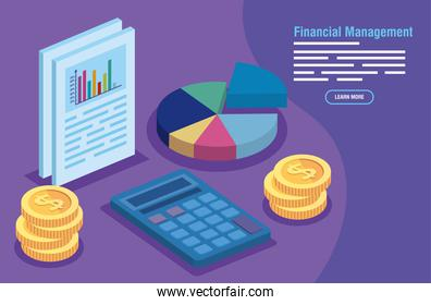 financial management with calculator and infographics