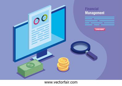 financial management with computer and icons