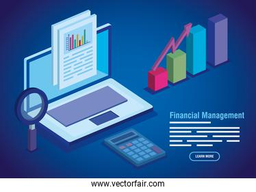 financial management lettering with laptop and infographics
