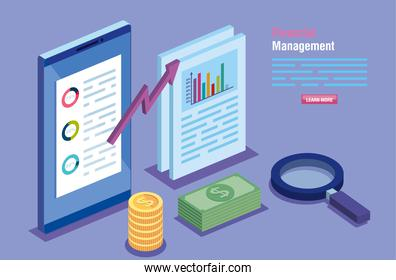 financial management with smartphone and infographics