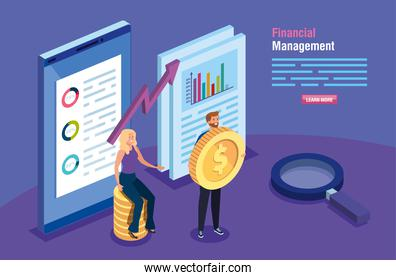 financial management with smartphone and couple