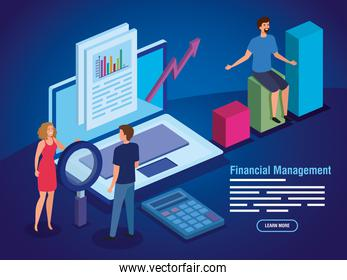 financial management with laptop and business people