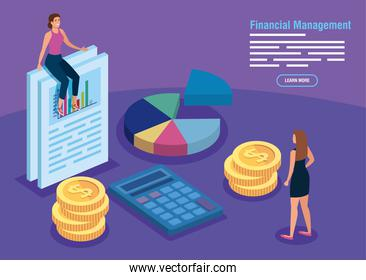 financial management with infographics and business women