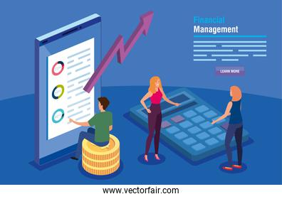 financial management with smartphone and business people