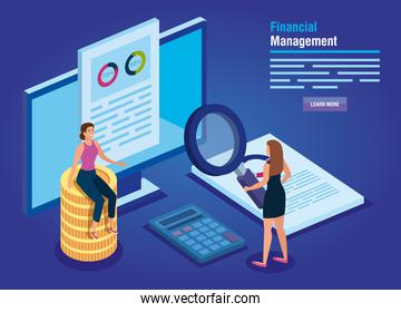 financial management with computer and business women