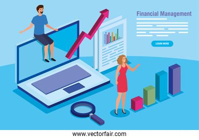 financial management with laptop and business couple