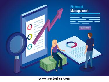 financial management with smartphone and business couple