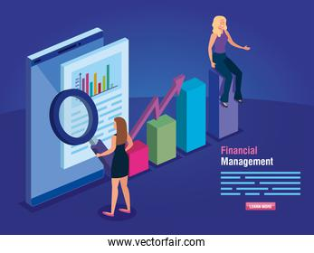 financial management with smartphone and business women