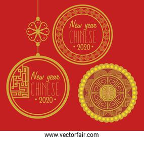 poster happy new year chinese 2020 with decoration