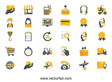 bundle of delivery service icons