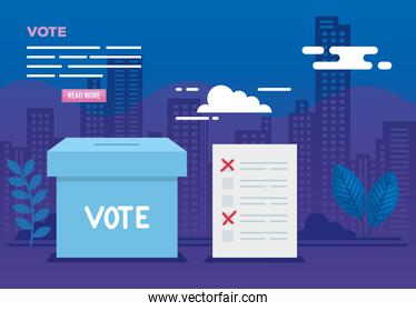 poster of vote with urn and icons