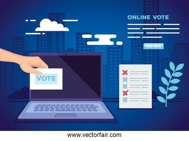 poster of vote online with laptop and icons