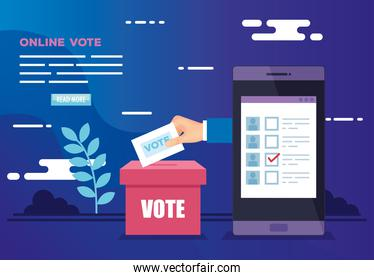 poster of vote online with smartphone and icons