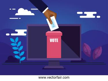 poster of vote online with computer and icons