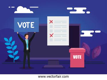 poster of vote online with computer and businessman