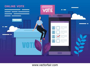 poster of vote online with smartphone and business woman