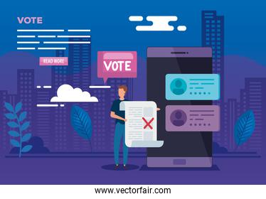 poster of vote online with smartphone and man