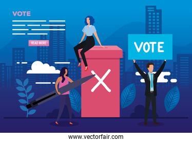 poster of vote with business people and icons