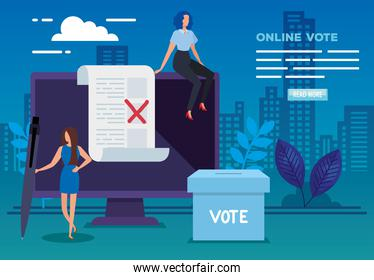 poster of vote online with computer and business women
