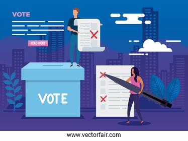 poster of vote with people and icons