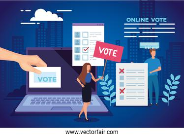 poster of vote online with laptop and people