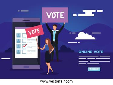 poster of vote online with smartphone and business people