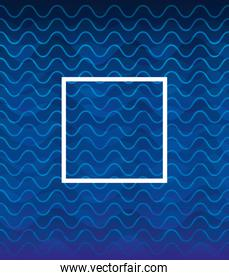 waves background blue color with square frame