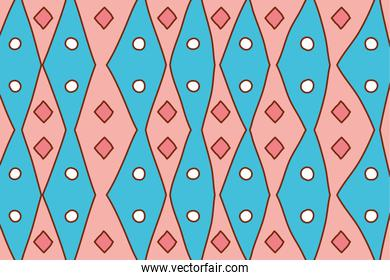Isolated boho pink and blue background vector design