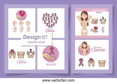 six designs of breast cancer awareness