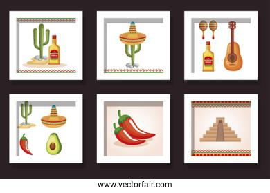 bundle food with icons mexico traditional