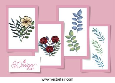four designs of flowers with leafs naturals