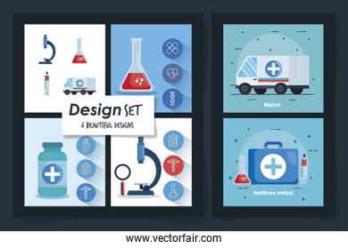 six designs of healthcare medical set icons