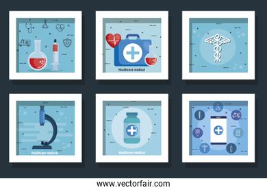 bundle of healthcare medical set icons