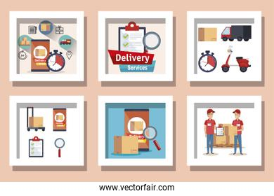 bundle of delivery service with workers and icons
