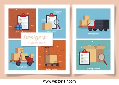 six designs of delivery service with icons