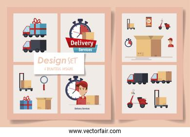 six designs of delivery service with workers and icons