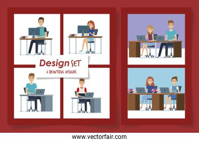 six designs of young people in the workplace