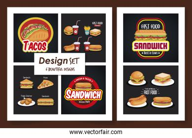 six designs of fast food delicious