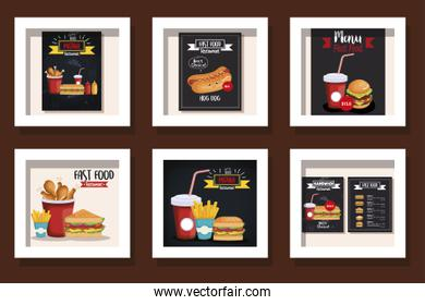 bundle of cards menu and delicious fast food