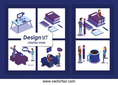 six designs of people with office equipments