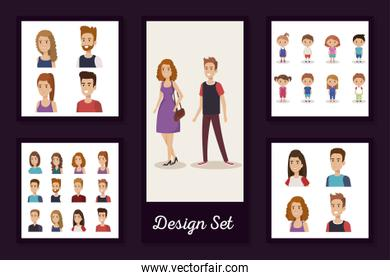 designs set of young people and children
