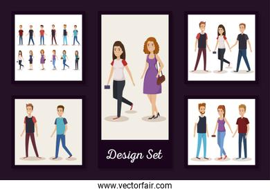 designs set of young people characters