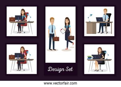 designs set of business people in the workplace