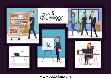 five designs of business people in the workplace and purchaser